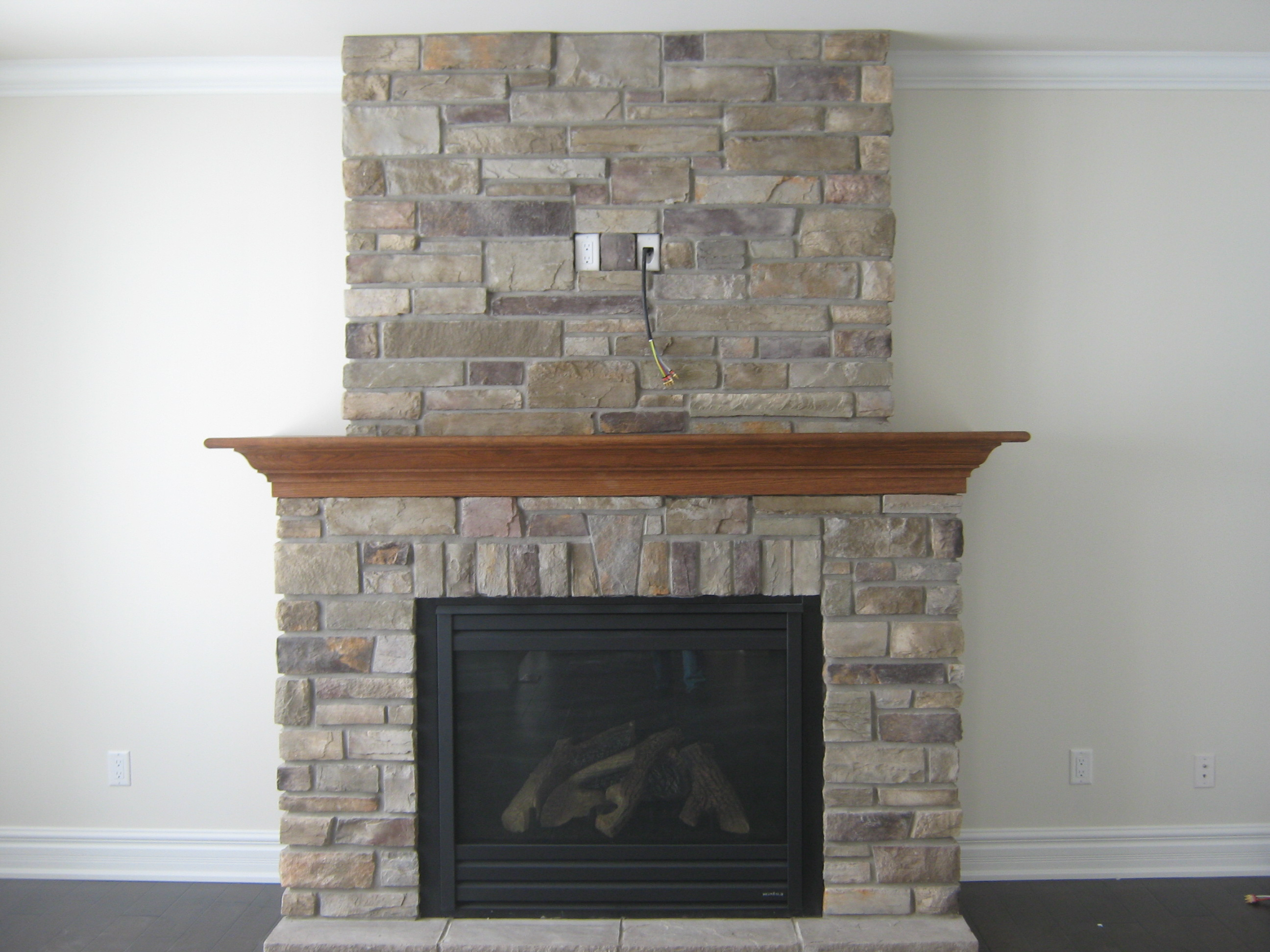 custom fireplace with country ledge stone rick